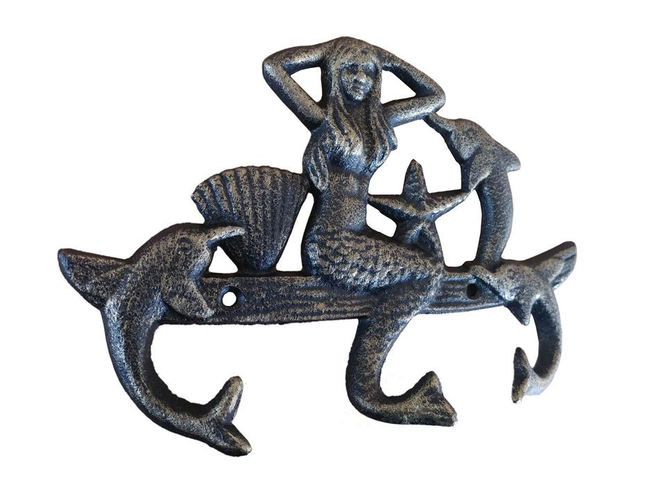 Gold Iron Wall Decor : Antique gold cast iron wall mounted mermaid with dolphin