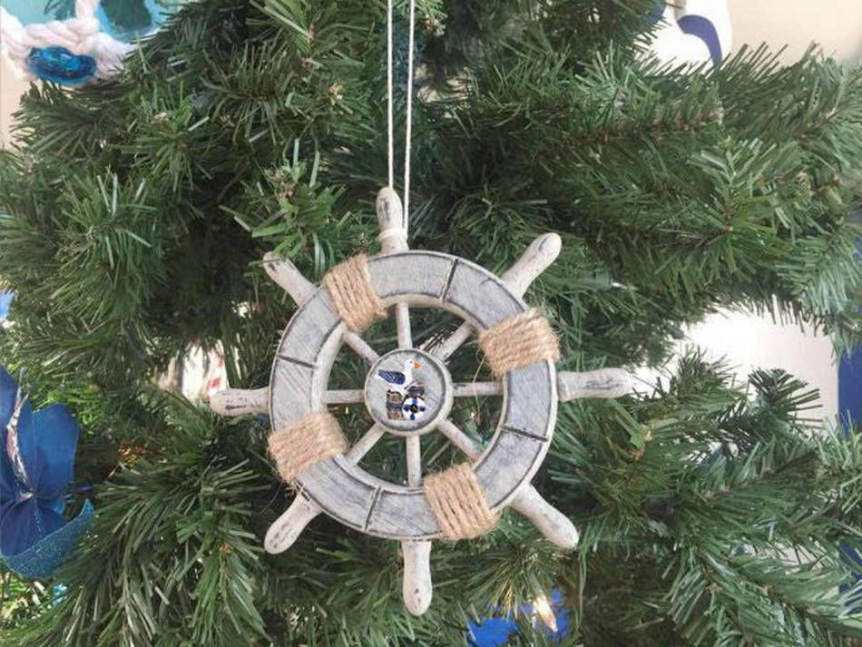 rustic decorative ship wheel with seagull christmas tree ornament 6 - Rustic Christmas Tree Decorations For Sale