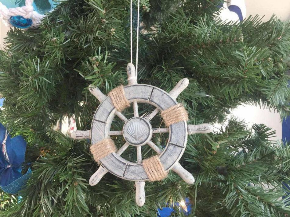 Buy rustic decorative ship wheel with seashell christmas for Miniature tree decorated with sea shells
