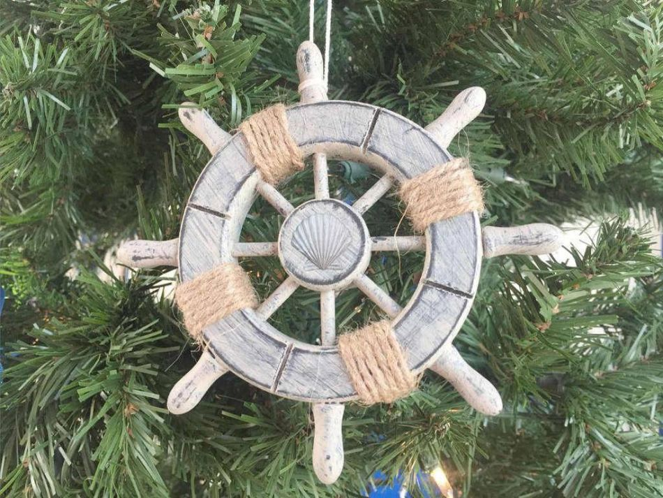 Wholesale rustic decorative ship wheel with seashell for Miniature tree decorated with sea shells
