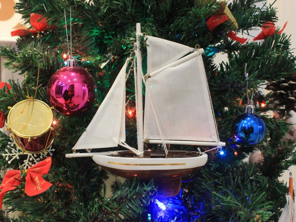 Buy Wooden Columbia Model Sailboat Christmas Tree Ornament