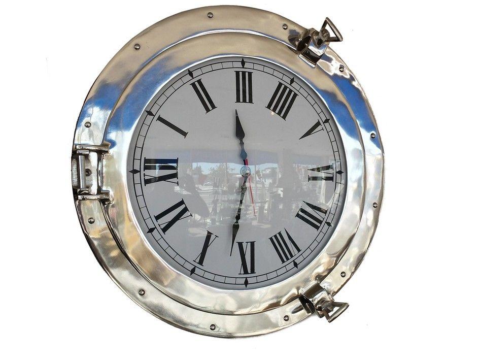 Buy chrome decorative ship porthole clock 20 inch for Seashell wall clock