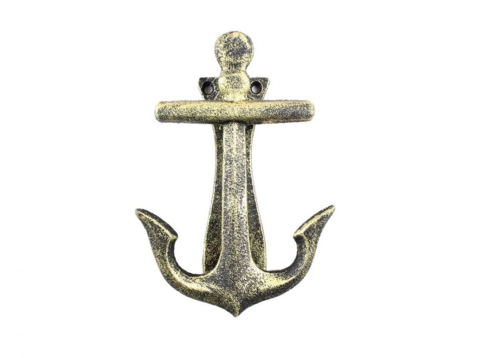 Buy antique gold cast iron decorative anchor door knocker for Anchor decoration for the home