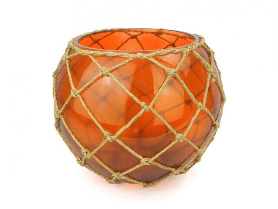 Buy orange japanese glass fishing float bowl with for Decorative fish bowls