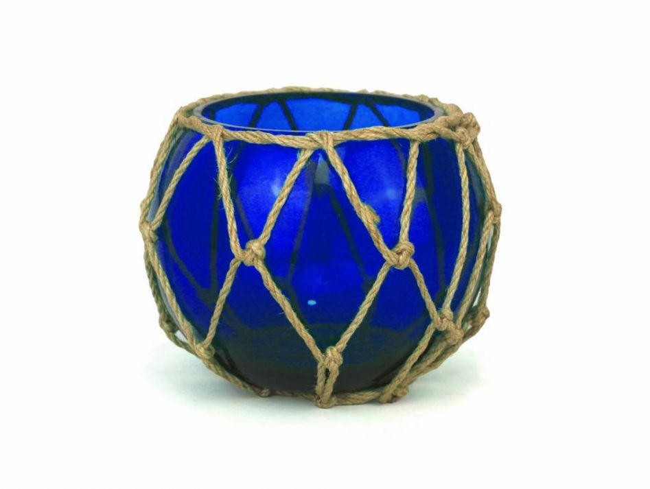 Buy Dark Blue Japanese Glass Fishing Bowl With Decorative Brown Fish Net