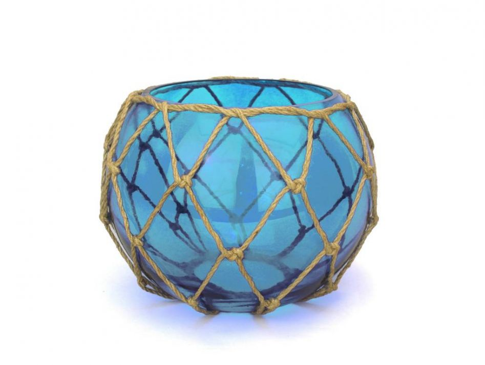Buy light blue japanese glass fishing float bowl with for Decorative fish bowls