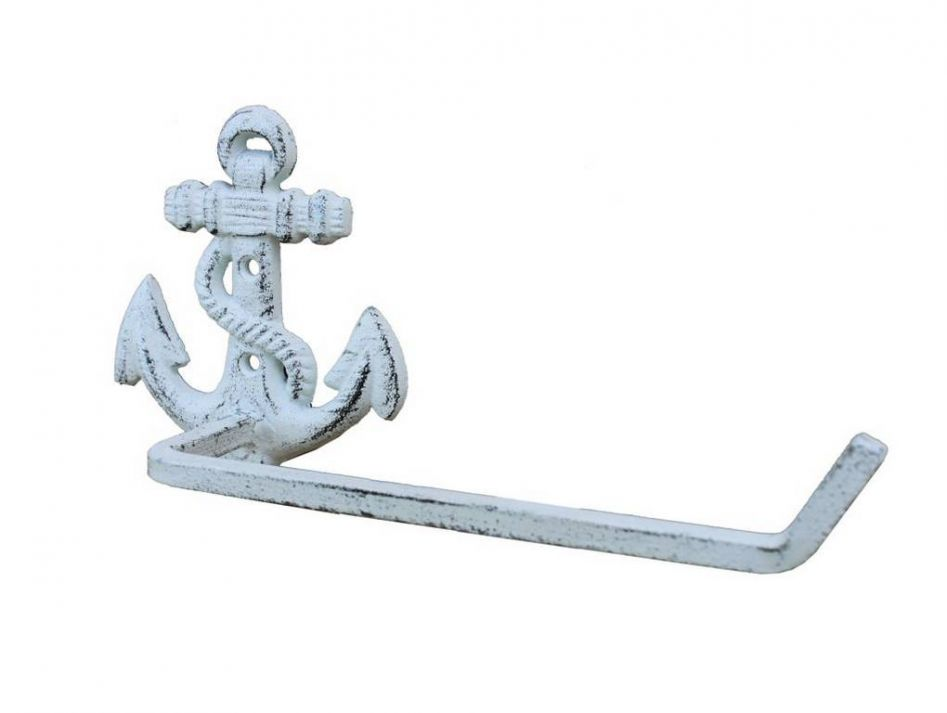 Buy whitewashed cast iron anchor toilet paper holder 10 inch nautical - Beach toilet paper holder ...
