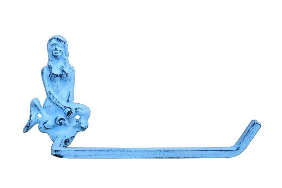 Rustic Light Blue Cast Iron Mermaid Toilet Paper Holder 10