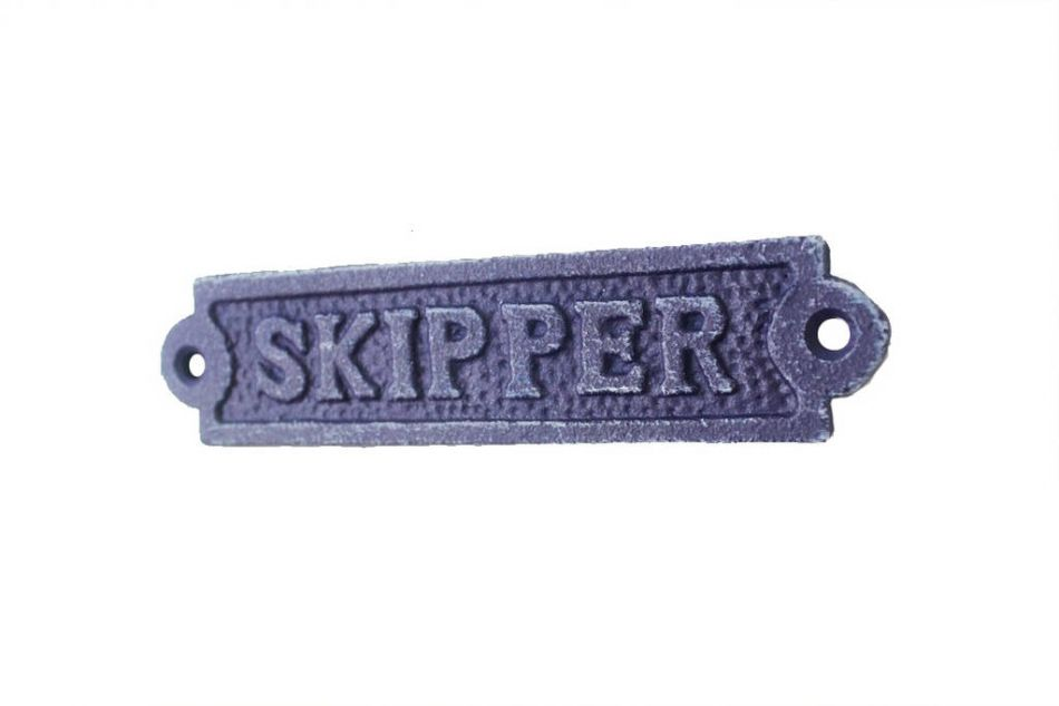 Buy rustic dark blue cast iron skipper sign 6 inch for Product key decor8