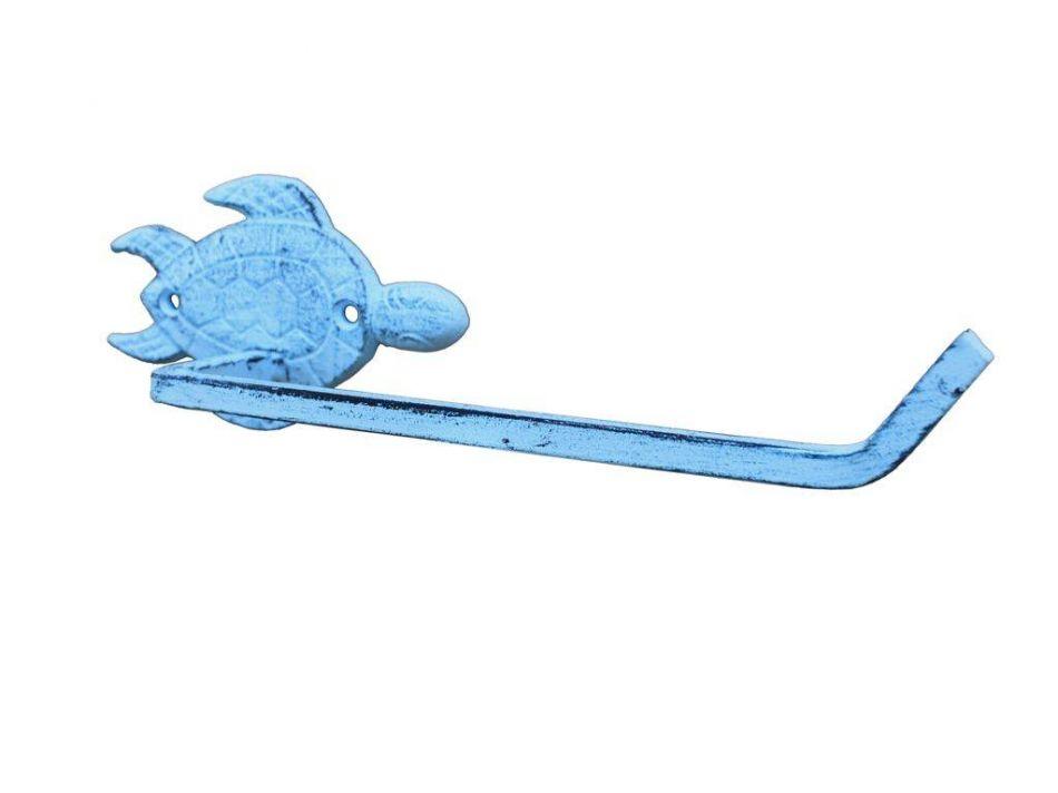 Buy rustic dark blue cast iron sea turtle toilet paper holder 10 inch - Beach toilet paper holder ...