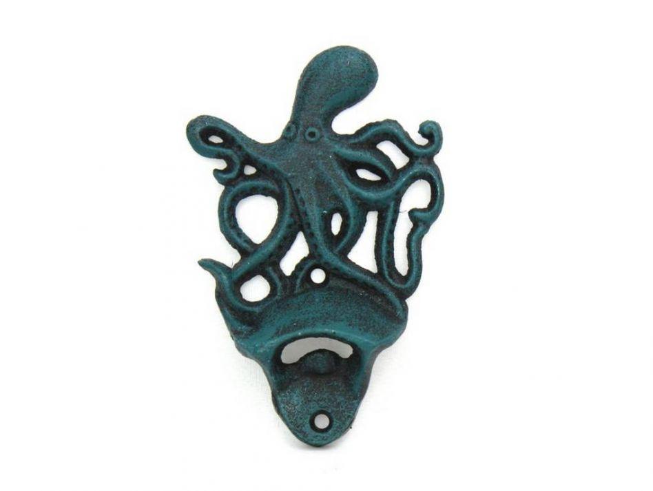 Buy seaworn blue cast iron wall mounted octopus bottle opener 6 inch s - Cast iron wall mount bottle opener ...