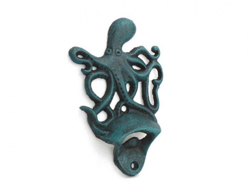 Buy Seaworn Blue Cast Iron Wall Mounted Octopus Bottle