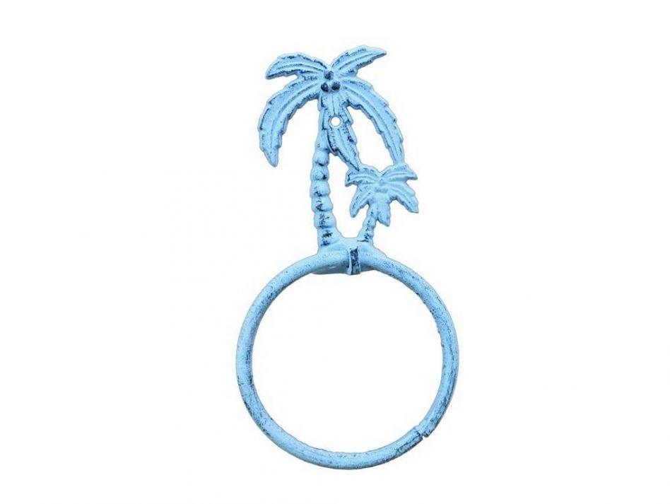 Dark Blue Whitewashed Cast Iron Palm Tree Towel Holder 9 Quot