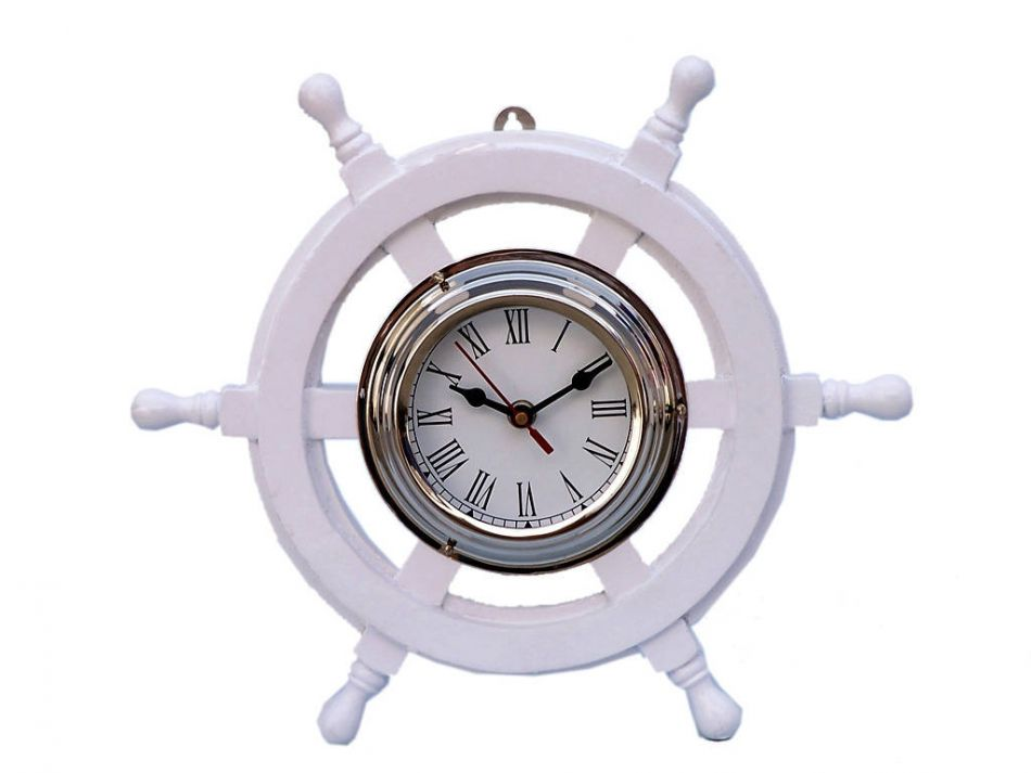 Buy Deluxe Class White Wood And Chrome Pirate Ship Wheel Clock 12 Inch