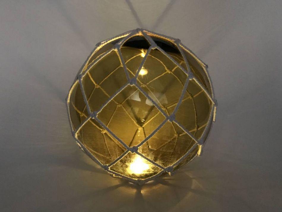 Buy tabletop led lighted amber japanese glass ball fishing