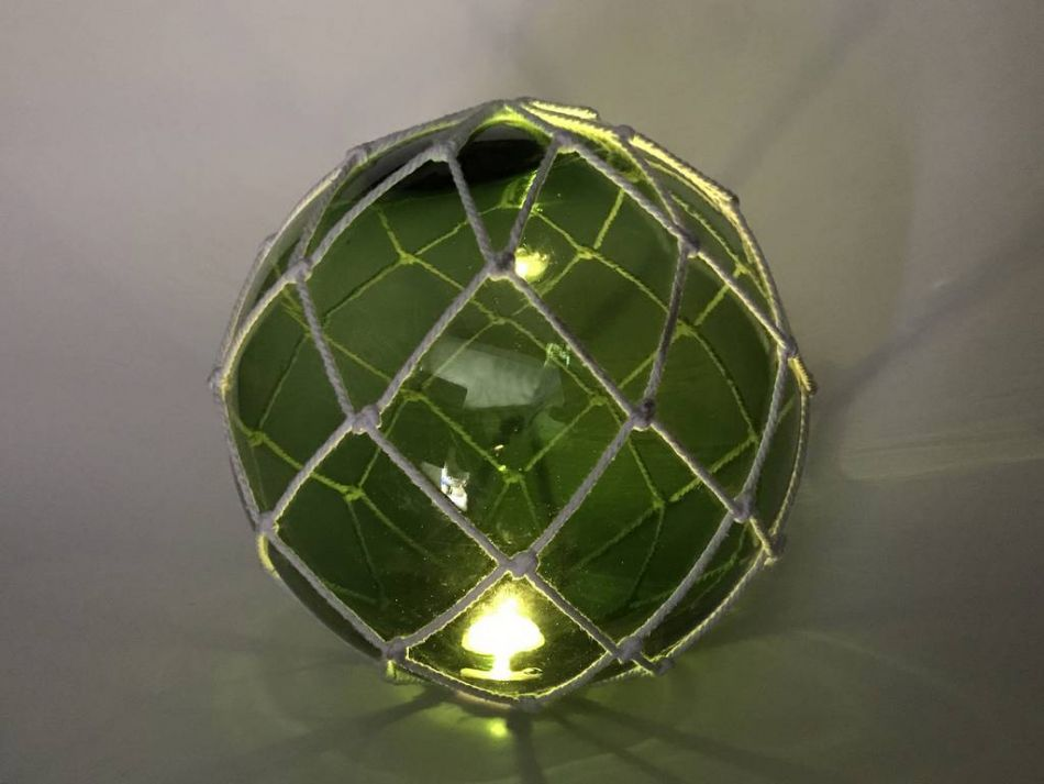 Tabletop led lighted green japanese glass ball fishing