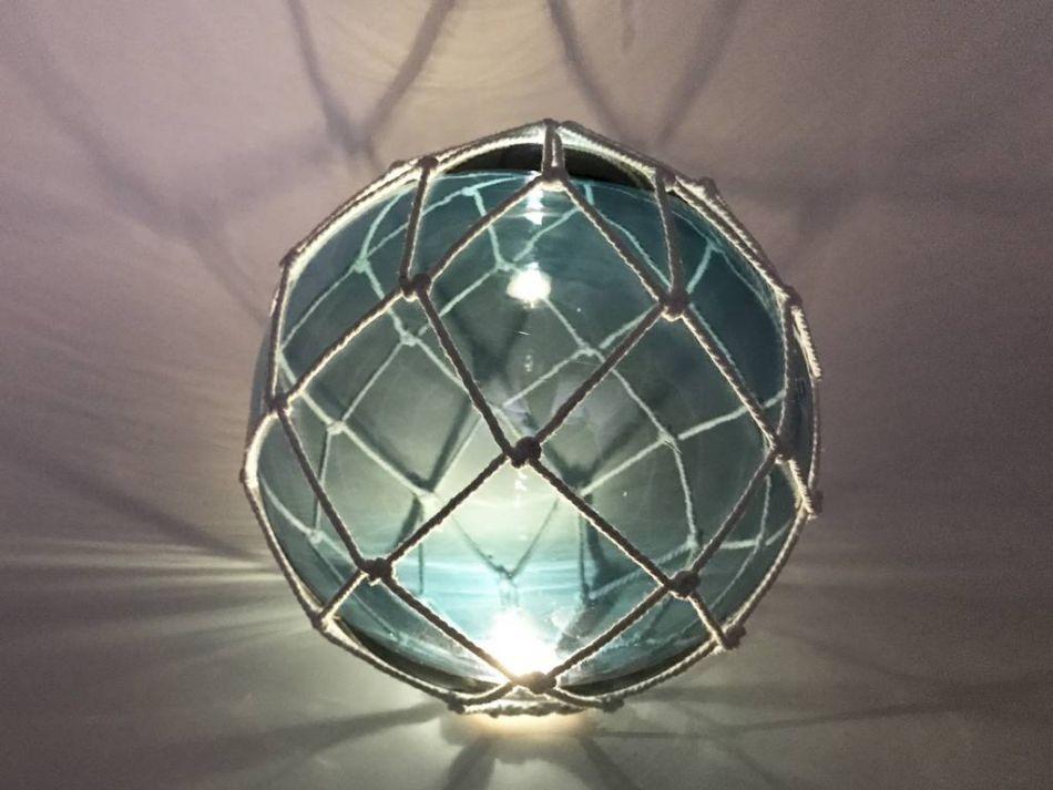 Buy tabletop led lighted light blue japanese glass ball