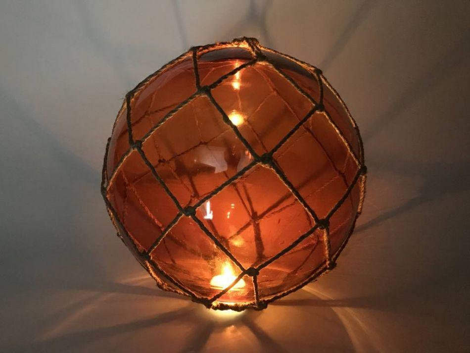 Buy tabletop led lighted orange japanese glass ball