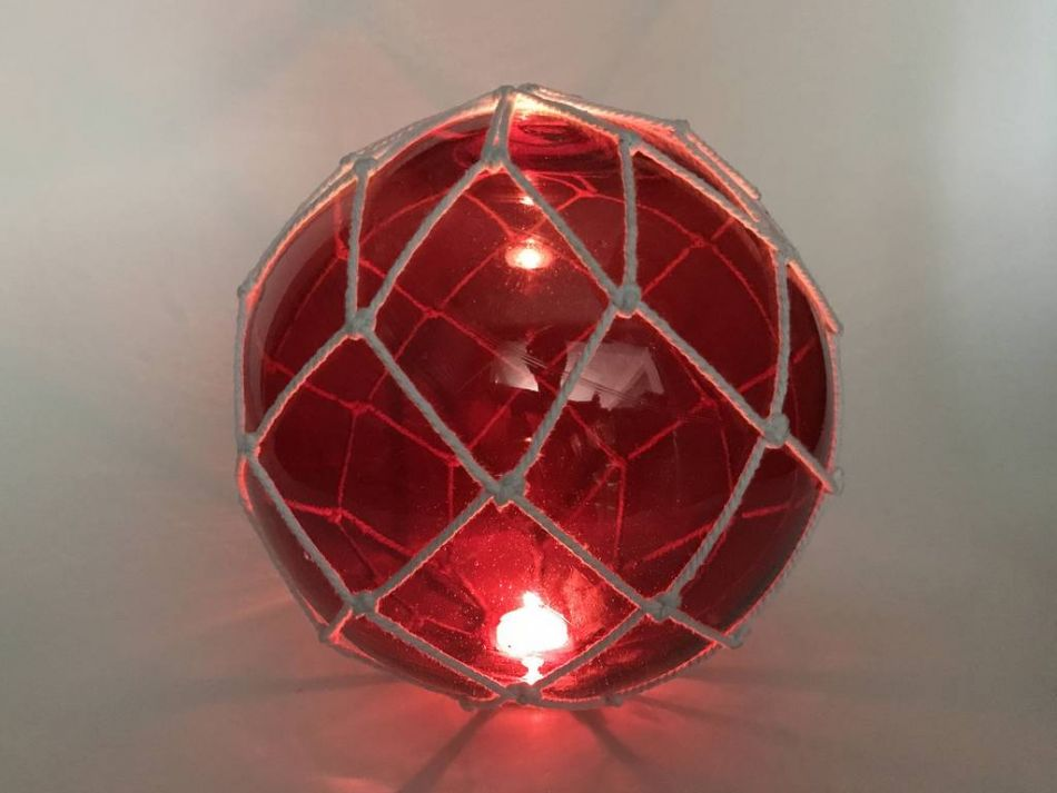 Buy tabletop led lighted red japanese glass ball fishing