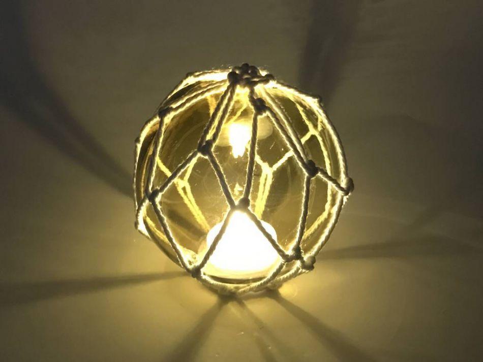 Tabletop led lighted amber japanese glass ball fishing