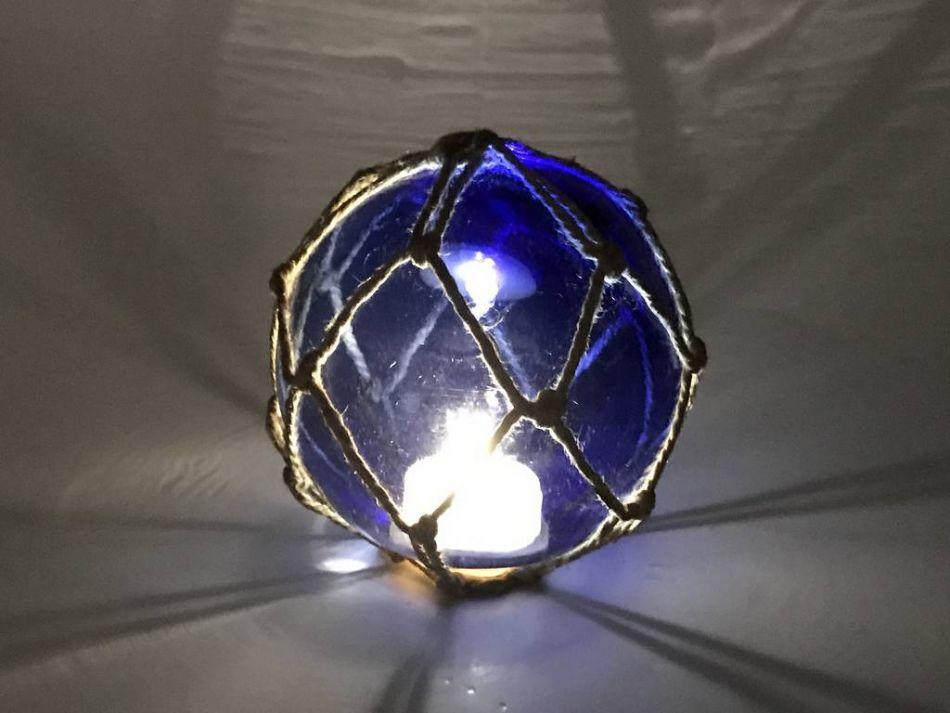 Buy tabletop led lighted dark blue japanese glass ball