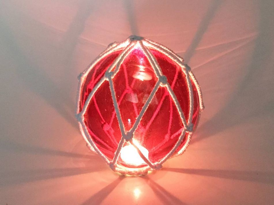 Tabletop led lighted red japanese glass ball fishing float