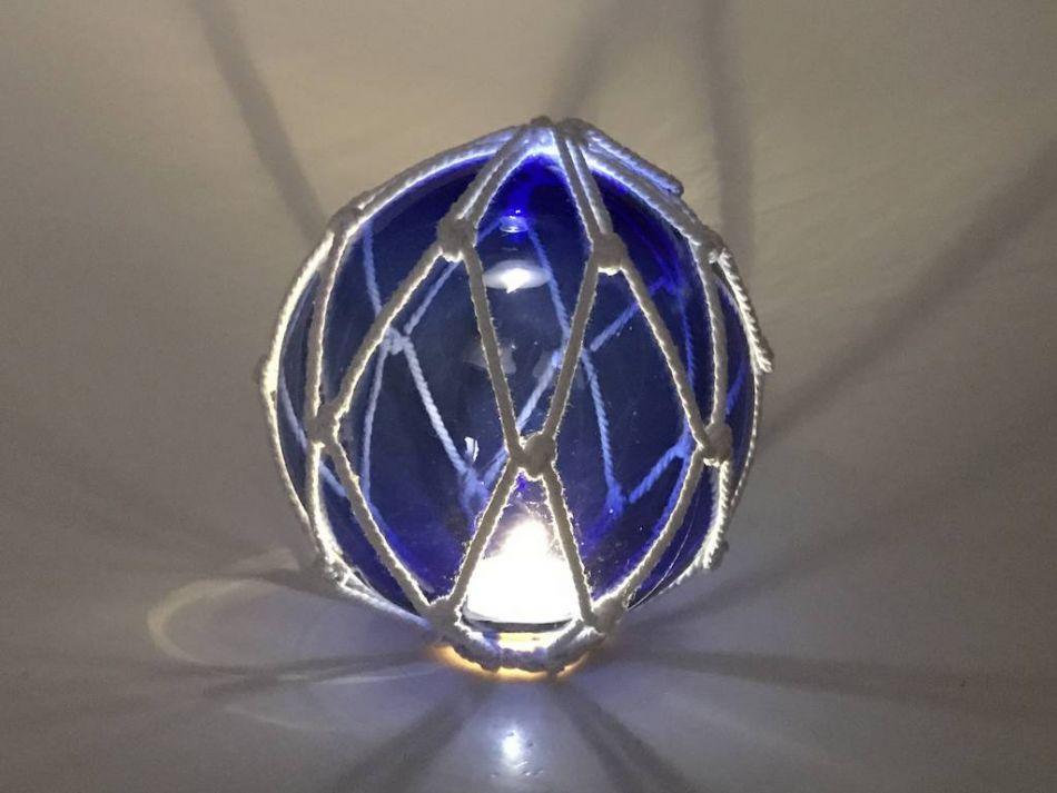 Tabletop led lighted dark blue japanese glass ball fishing