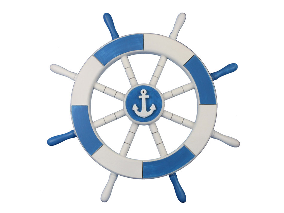 buy light blue and white decorative ship wheel with anchor Sailing Ship Rudder Tall Sailing Ships