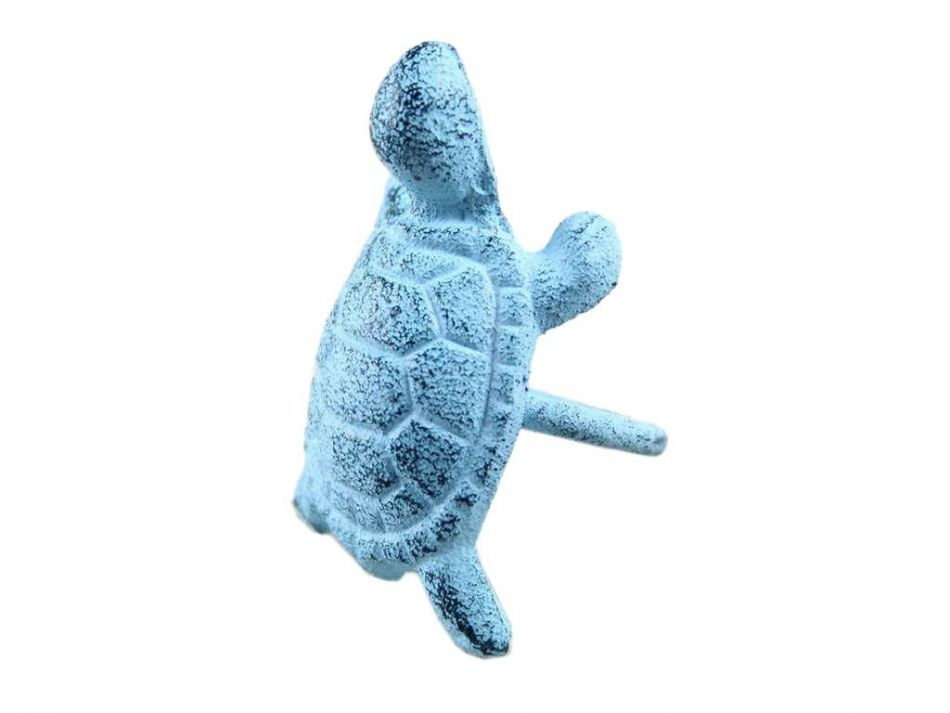Buy rustic dark blue whitewashed cast iron turtle napkin Turtle decorations for home