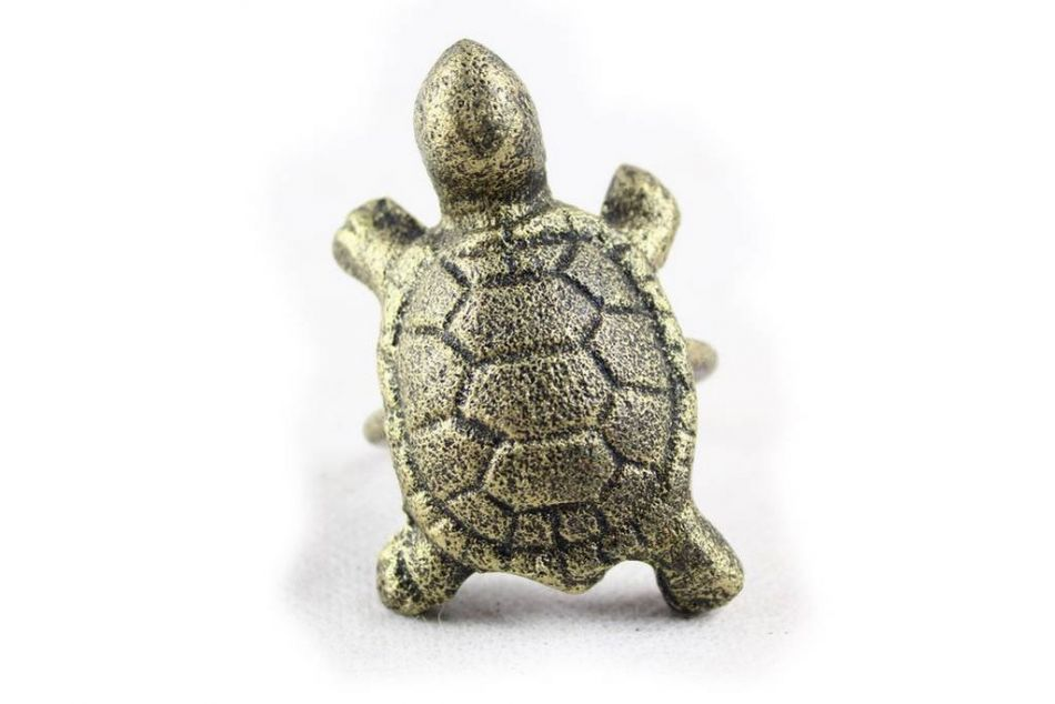 Buy antique gold cast iron turtle napkin ring 3 inch set Turtle decorations for home