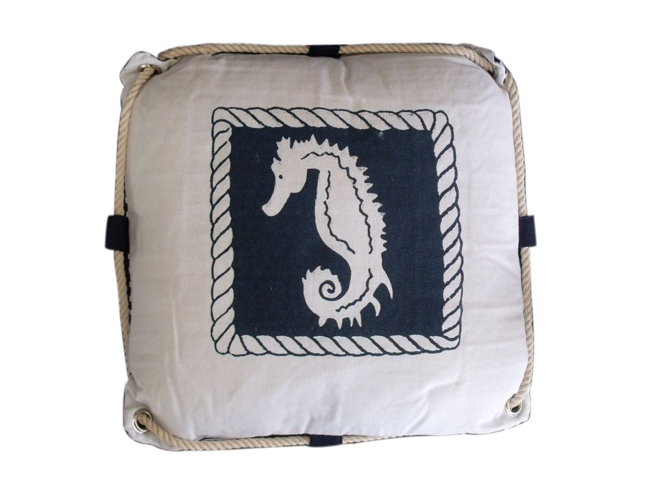 Buy Navy Blue and White Seahorse Decorative Nautical Pillow with Rope