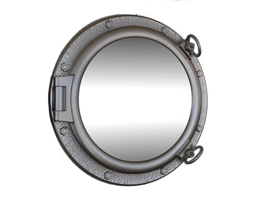 Wholesale silver leaf finish porthole mirror 20 inch for Cheap silver mirrors