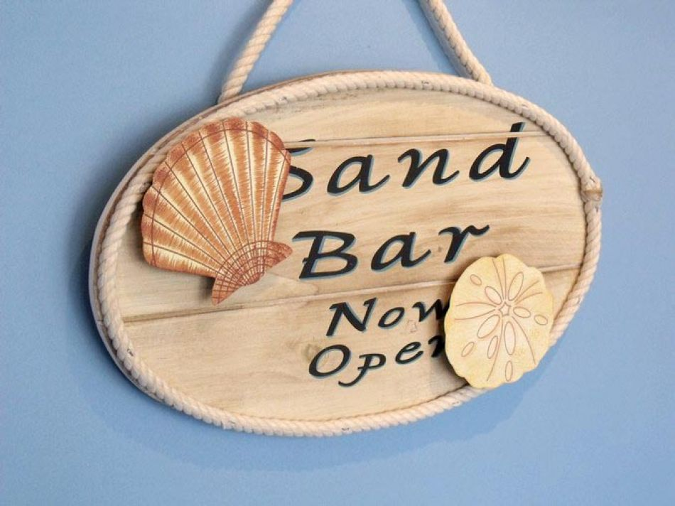 Buy Wooden Sand Bar Now Open Sign 15 Inch Nautical