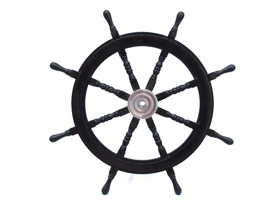 Deluxe Cl Wood And Chrome Pirate Ship Steering Wheel 36