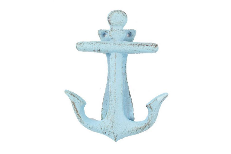 Wholesale rustic light blue cast iron decorative anchor for Anchor door decoration