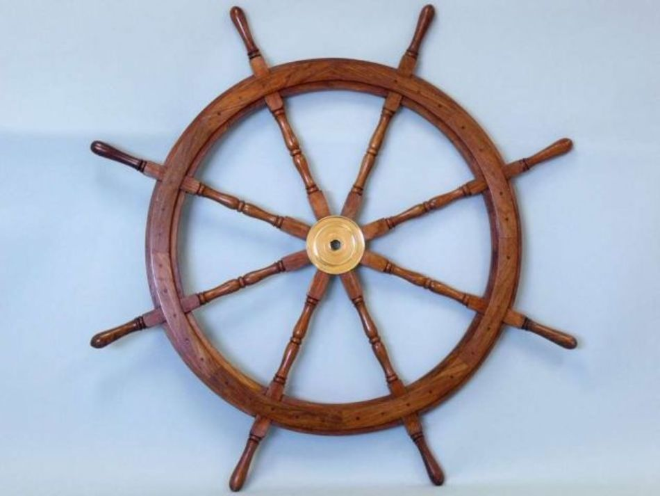 Wooden Coastal Decor: Buy Deluxe Class Wood And Brass Decorative Ship Wheel 48