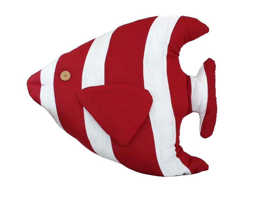 Buy red tropical fish pillow 18 inch wholesale sealife decor for Fish shaped pillow