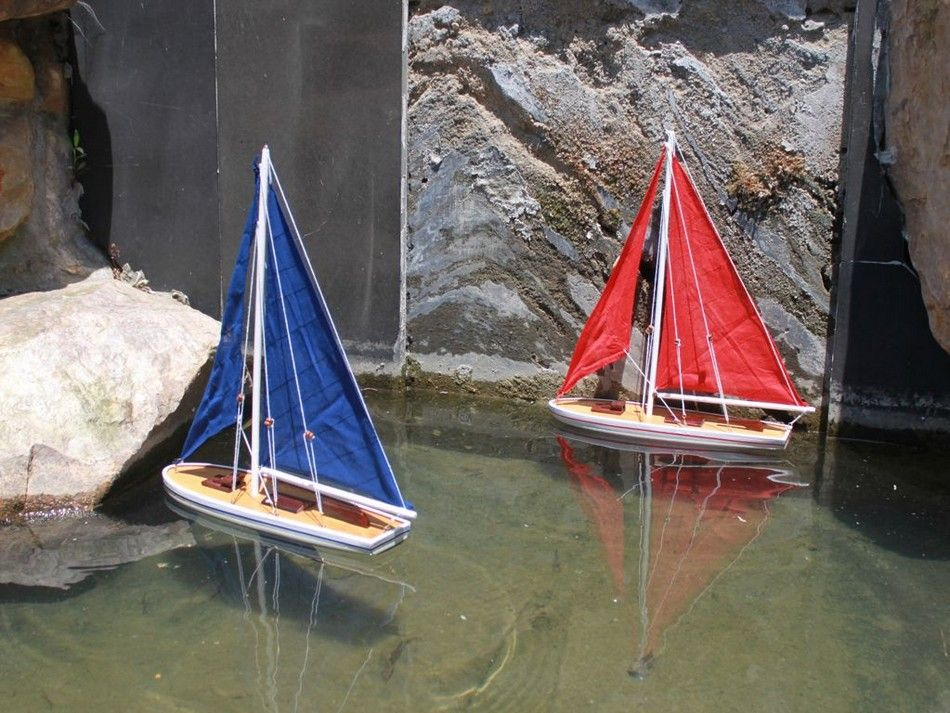 Lobster Boats For Sale >> Buy Wooden It Floats 21in - Red Floating Sailboat Model ...