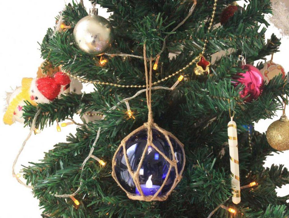 Wholesale LED Lighted Dark Blue Japanese Glass Ball