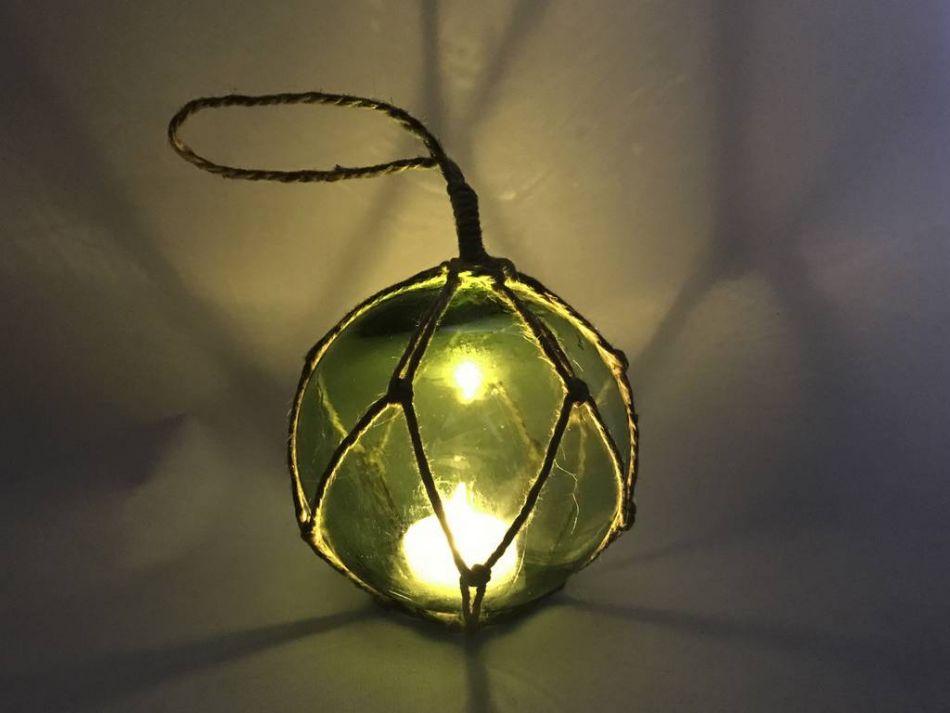 Buy led lighted green japanese glass ball fishing float