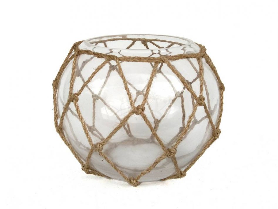 Buy clear japanese glass fishing float bowl with for Fish netting decor
