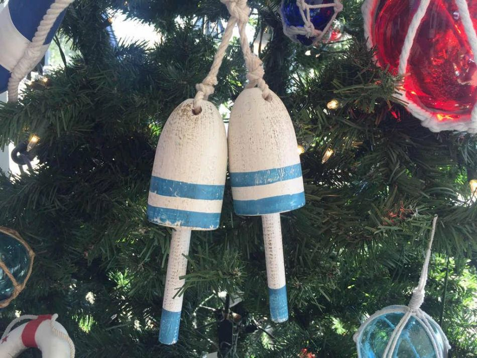 Buy Wooden Vintage Light Blue Decorative Maine Lobster Trap Buoys