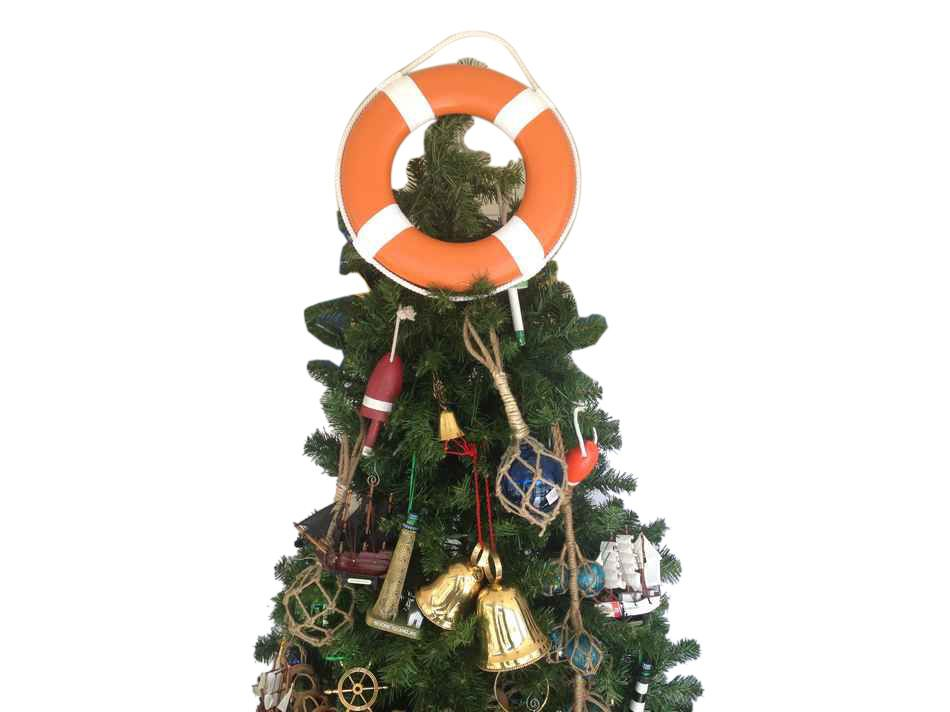 orange lifering with white bands christmas tree topper decoration - Orange Coloured Christmas Tree Decorations