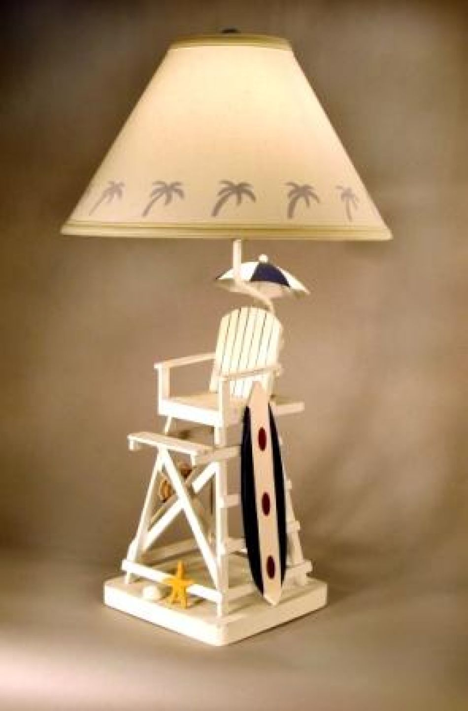 lifeguard chair with surfboard electric lamp 28quot. Black Bedroom Furniture Sets. Home Design Ideas