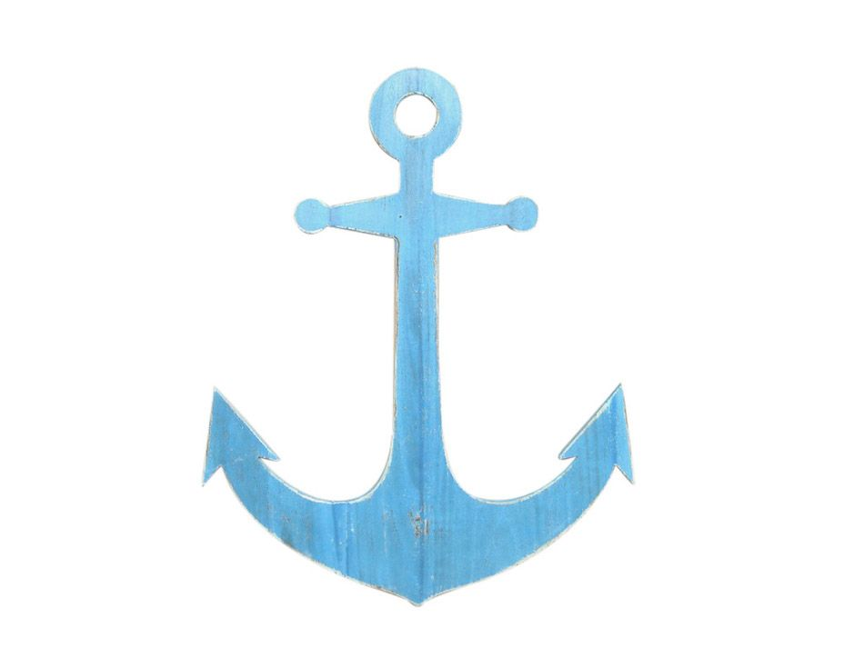 Buy wooden rustic light blue wall mounted anchor for Anchor decoration