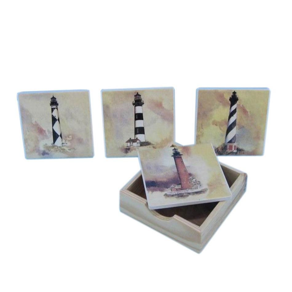 Buy Set of 4 Ceramic Lighthouse Coaster 4 Inch