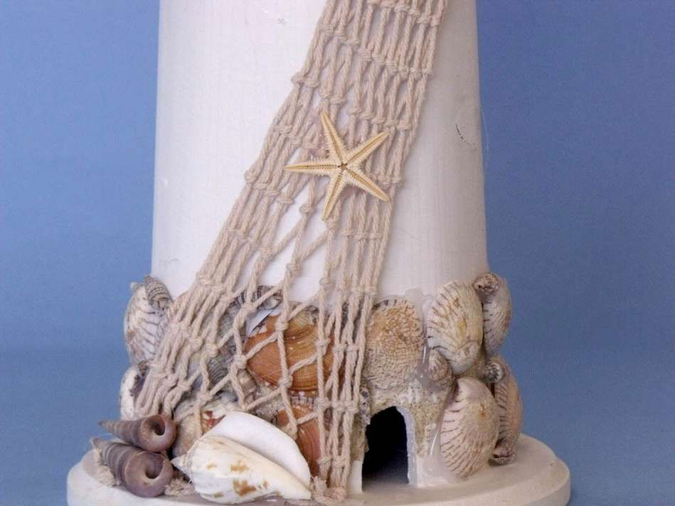 Buy Wooden Shell Lighthouse 23 Inch Wholesale Beach Decor