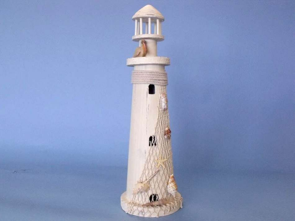 Buy Wooden Pelican Large Lighthouse 21in Nautical Decor