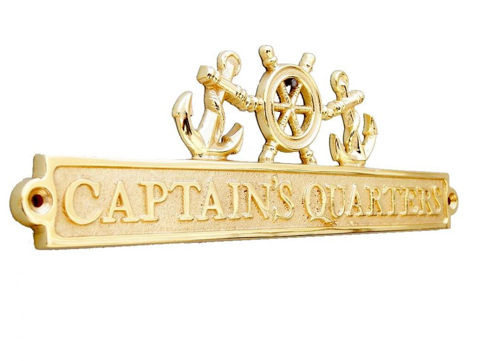 Brass captains quarters sign with ship wheel and anchors 12 for Decor quarters
