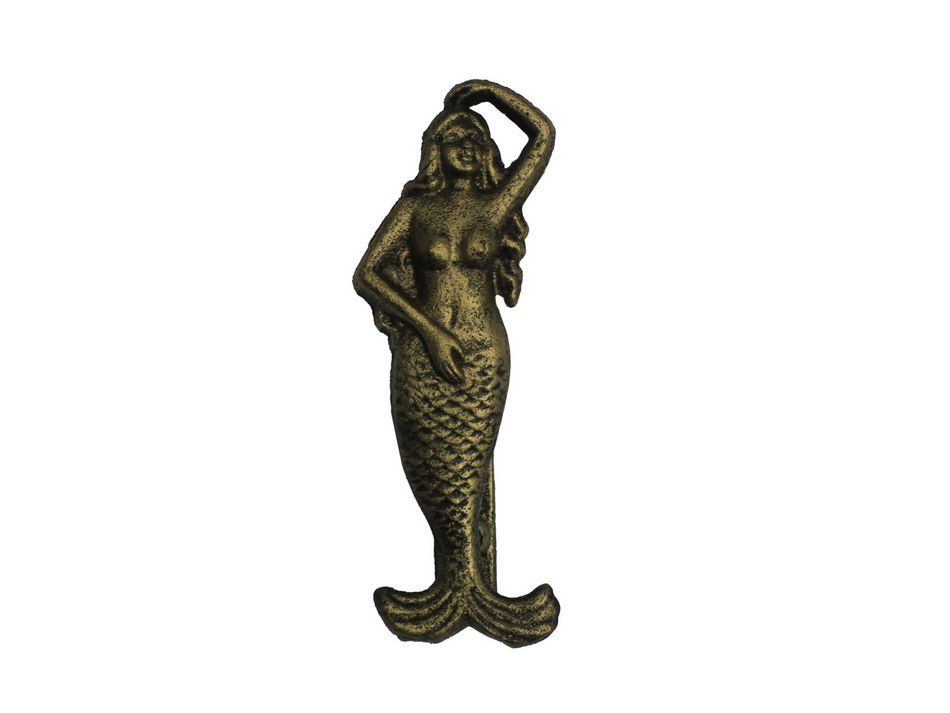 Buy rustic gold cast iron mermaid door knocker 7 inch nautical home - Mermaid door knocker ...